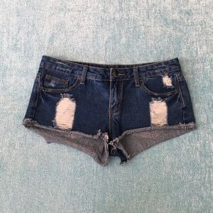 Distressed Jean Hot Shorts